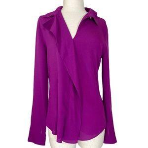 Ivanka Trump magenta ruffle blouse, long sleeve